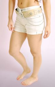 Beige Stretch Belted Shorts with Roll up Cuffs